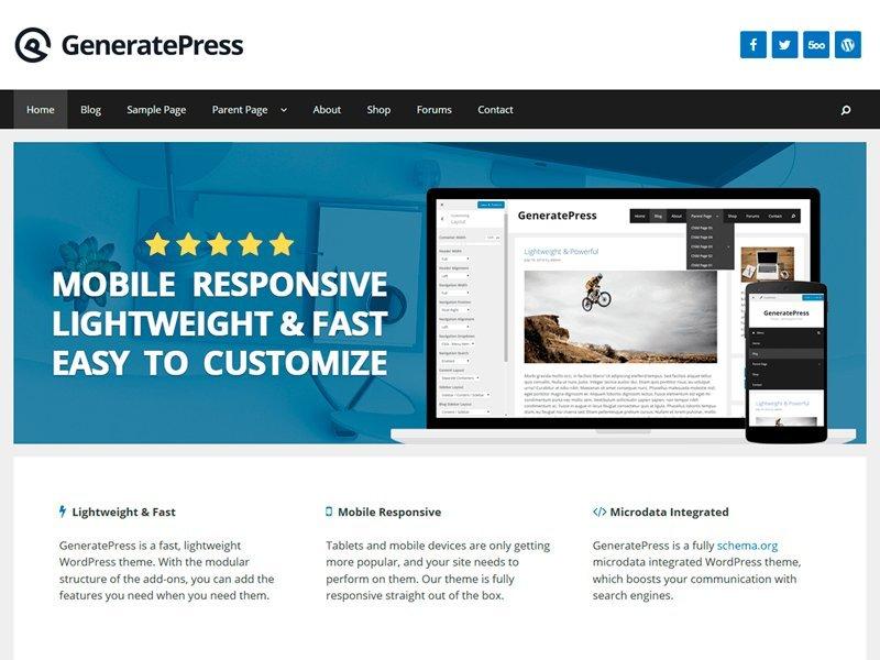 descargar plantilla wordpress GeneratePress gratis